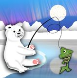 Plush polar bear sitting on the ice floe and fishing Royalty Free Stock Images