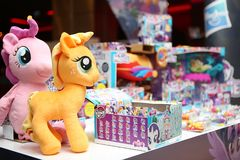 Plush pony unicorn toy. Plush pony unicorn and other toys on a table can be seen at the launch of animation My Little Pony, in Bucharest, Romania, tuesday Royalty Free Stock Photos