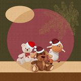 Plush puppy, lamb and bear, christmas background.  Stock Images