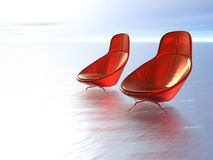 Plush red chairs on sea. Three dimensional illustration of two cosy red chairs on surface on sea or ocean Royalty Free Stock Photography