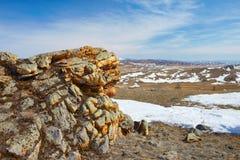 Plush Rocks near Baikal lake Royalty Free Stock Photos