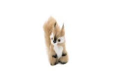 Plush squirrel with a bushy tail isolated on white Royalty Free Stock Photography