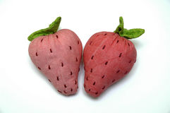 Plush strawberries. Soft toys Strawberry, made of fabric Stock Images