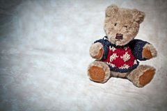 Plush teddy bear. With winter clothes Royalty Free Stock Photos