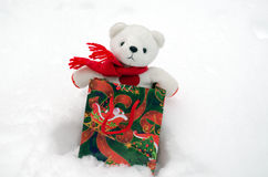 Plush teddy bear christmas gift present bag snow Royalty Free Stock Photo
