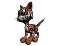 Plush Tiger. A 3D illustration of a plush tiger, isolated on a white background Royalty Free Stock Image