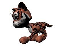 Plush Tiger. A 3D illustration of a plush tiger, isolated on a white background Royalty Free Stock Photo