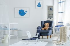 Marine posters in child`s room stock image