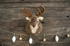 Plush toy deer on a wooden wall with xmas balls Stock Photos