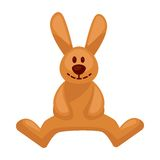 Plush toy hare with long ears vector illustration isolated. On white background. Cartoon smiling rabbit for children play. Sticker of sitting bunny in flat stock illustration