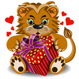 Plush toy lion with box gift Stock Photography