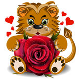 Plush toy lion with red rose Royalty Free Stock Images