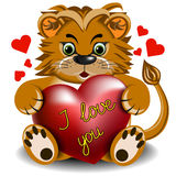 Plush toy lion with a scarlet heart Royalty Free Stock Images