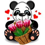 Plush toy Panda with a basket of tulips Royalty Free Stock Images