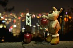 Plush toy rabbit apple Stock Image