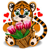 Plush toy tiger with a basket of tulips royalty free illustration