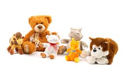 Plush toys. Isolated on white Royalty Free Stock Photo