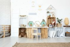 Plush toys in child`s room royalty free stock photo