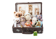 Plush toys in an old suitcase Stock Photo