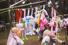 Plush toys on the rope. At competition Royalty Free Stock Photo