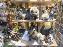 Plush toys store with plush animals on display in Hamburg Stock Photos