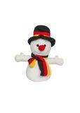 Plushed Toy Snowman isolato su fondo bianco Immagine Stock