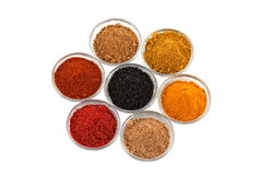 Plusieurs épices d'Indien dans la cuvette de cuvettes en verre images stock