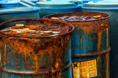 Plusieurs barils de déchets toxiques Image libre de droits