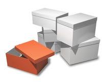 Plusieurs cadres de cadeaux sur un fond blanc. Photographie stock libre de droits