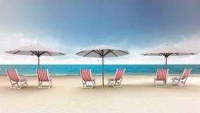 Plusieurs chaises de plate-forme avec des parapluies sur la plage illustration libre de droits
