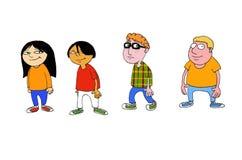 Plusieurs enfants de différents courses, genres et aspects illustration stock