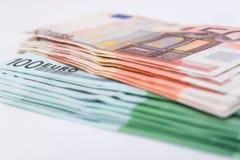 Plusieurs euro billets de banque Euro concept d'argent Photographie stock libre de droits
