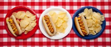 Plusieurs hot dogs des plaques colorées Image libre de droits