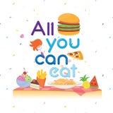 Plusieurs nourritures mignonnes pour l'affiche de buffet Images stock