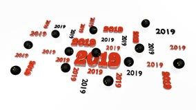 Plusieurs pressent 2019 conceptions avec quelques boules Images libres de droits