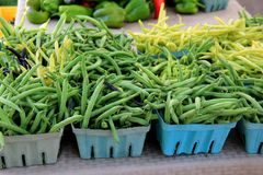 Plusieurs récipients bleus de pinte ont rempli d'haricots verts frais au marché local d'agriculteurs Images libres de droits