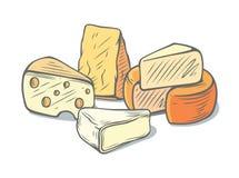 Plusieurs types de fromage ensemble image stock