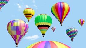 Plusieurs vol chaud de ballon à air dans le ciel bleu illustration stock