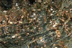Pluskotać wodę z błyszczącymi monetami Fotografia Royalty Free