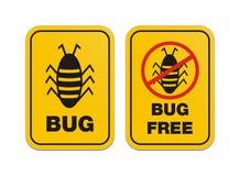 Pluskwa bezpłatna - ostrzeżenie znaki ilustracji