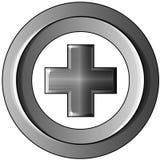 Pluszeichen in einem Ring des Metalls; lokalisiert vektor abbildung