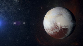 Plutão do planeta do sistema solar no fundo da nebulosa Fotos de Stock Royalty Free