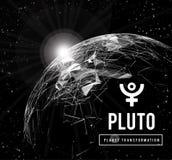 Pluto, der Planet verantwortlich in der Astrologie für die Umwandlung, Wiedergeburt, die Kollektivenergie der Massen Vektor stock abbildung