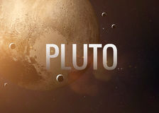 Pluto inspiring inscription on the background of. Lettering on the background of the Pluto. Elements of this image furnished by NASA Stock Image