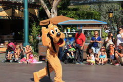 Pluto på Disneyland royaltyfri bild