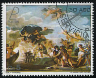 Pluto and Prosperpine by luca Giordano. RUSSIA KALININGRAD, 19 APRIL 2017: stamp printed by Paraguay, shows Painting Pluto and Prosperpine by luca Giordano Royalty Free Stock Images
