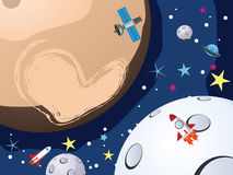 Pluto and Spaceships Royalty Free Stock Image