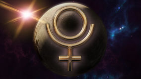 Pluto zodiac horoscope symbol and planet. 3D rendering. 3D rendering image of a brilliant gold Pluto zodiac horoscope symbol. An astrology sign on the foreground Stock Images