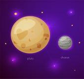 Plutone e la sua luna Charon, oggetti dello spazio Immagine Stock