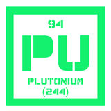 Plutonium chemical element. Plutonium, chemical element. Actinide dangerous radioactive metal of silver gray appearance Stock Photo